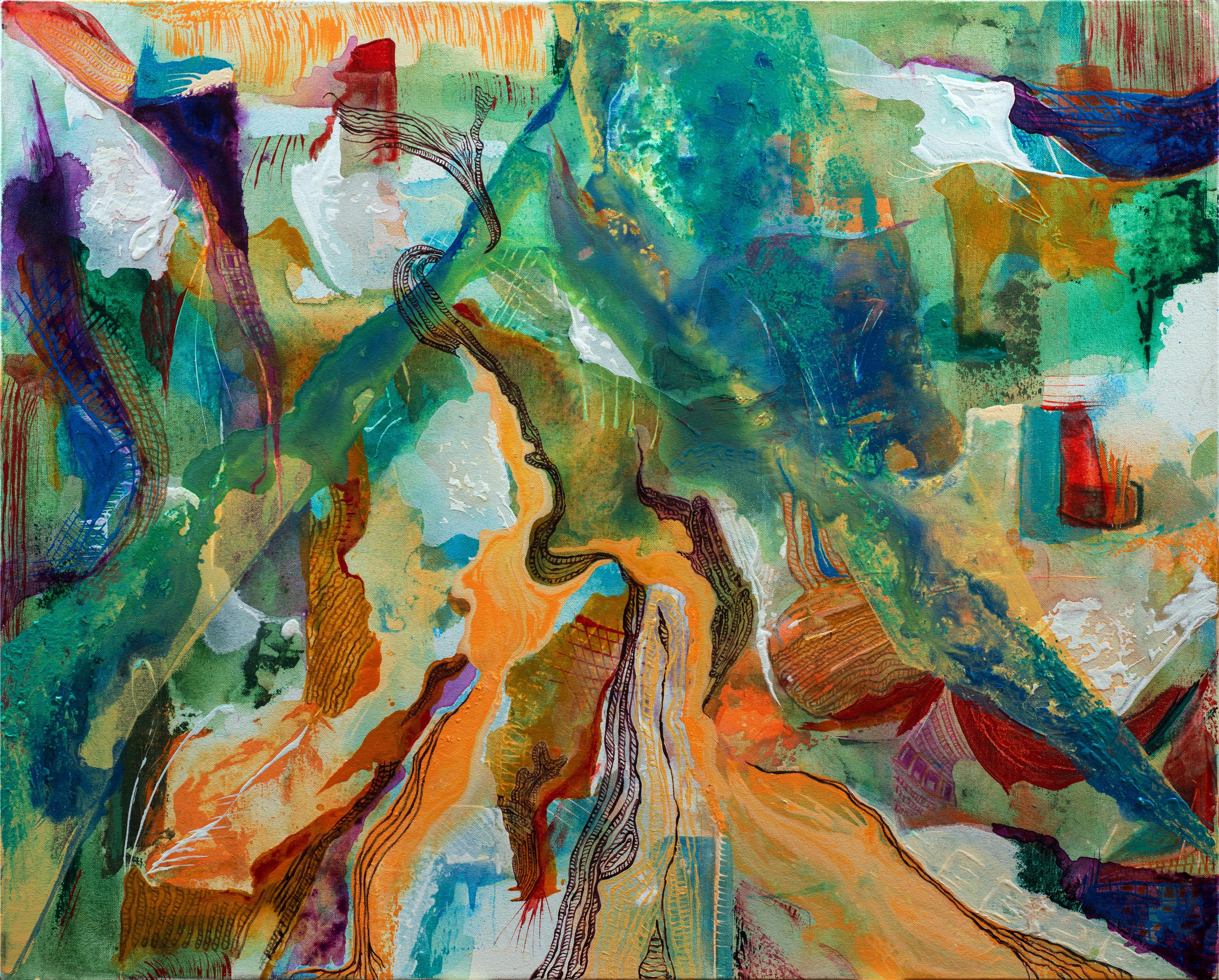 ויהי יום ציור אבסטרקט בצבעים רכים