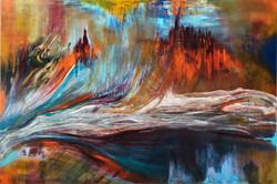 בחזרה, ציור אבסטרקט , ציור מופשט, ציירת דורית רוף
