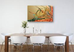 ציור שמן על קיר חדר האוכל
