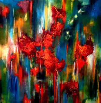פרחים על הקיר ציור מופשט