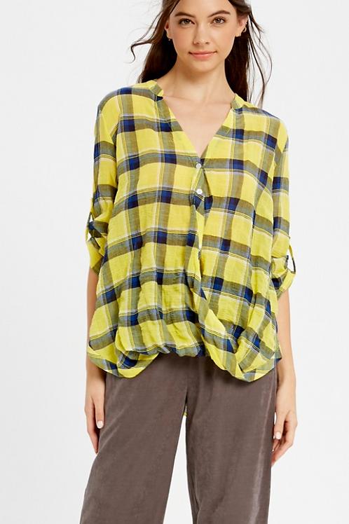 Yellow plaid carhered top
