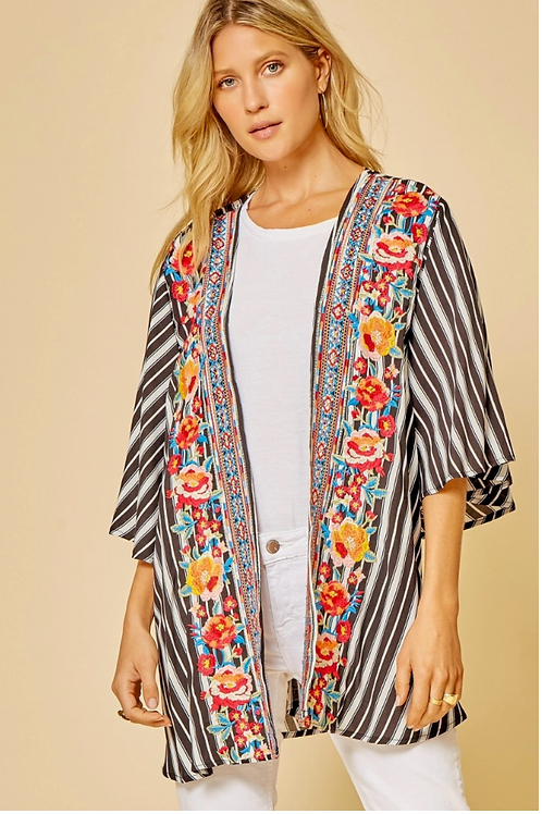 Embroidered Stripe Cardigan