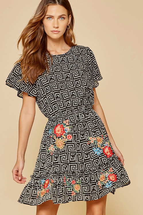 Embroidered Geometric Dress