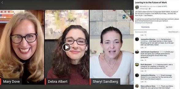 Sheryl Sandberg, Debra Albert, and Mary Dove