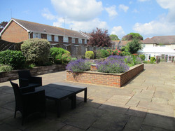 Dementia care garden - lavender in raised beds