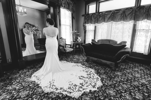 Front Parlor with the Beautiful Bride  Photographer credit: Jamie Hiner Creations