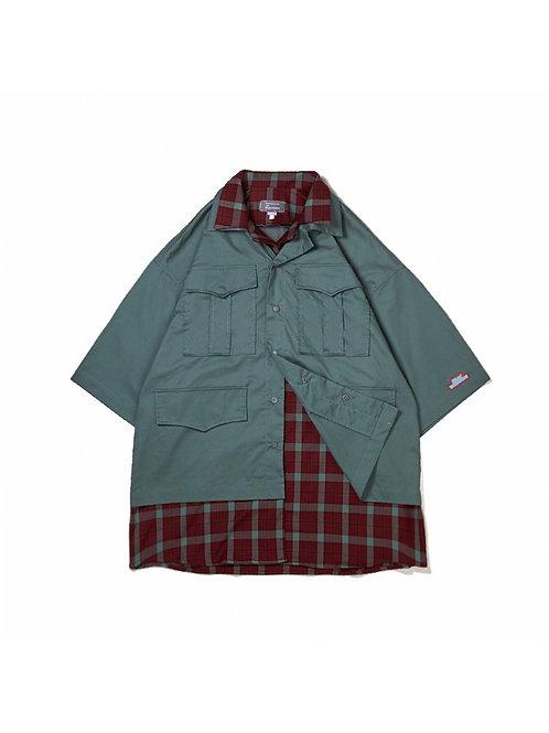UMAMIISM Layered Plaid Check Short Sleeve Sarafi Shirt Outer