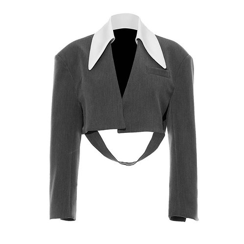 WE11DONE Grey Short Blazer