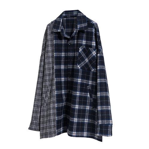 MODITEC Wool Grid Montage Oversize Shirt