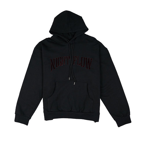 NIGHT FLOW Red Logo Hoodie