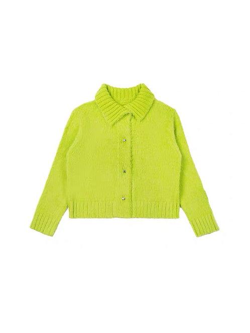 ANN ANDELMAN Turnover Collar Short Cardigan