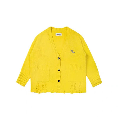 ANN ANDELMAN Yellow Destroyed Cardigan
