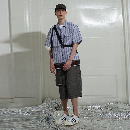 ATTEMPT SS18 泡泡棉蓝色条纹拼色短袖衬衫