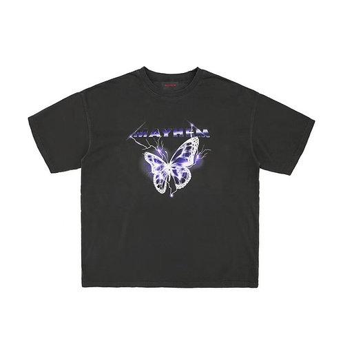 MAYHEM White Lightning Butterfly Print Tee