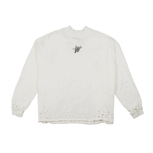 WE11DONE White Distressed 'WD' Logo Long Sleeve T-Shirt