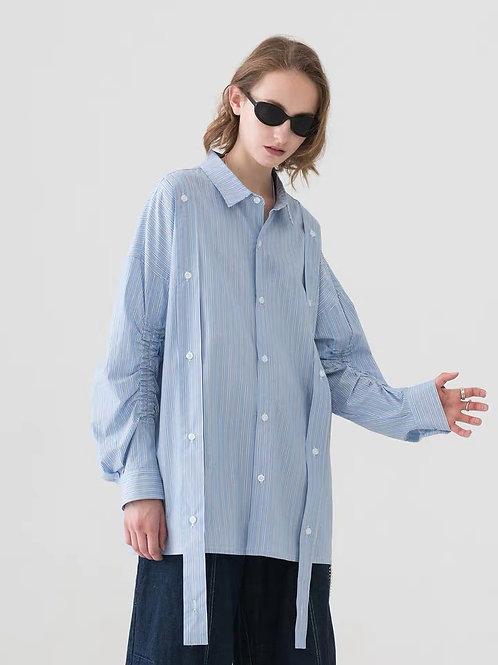 MODITEC Blue White Striped Shirt Jacket