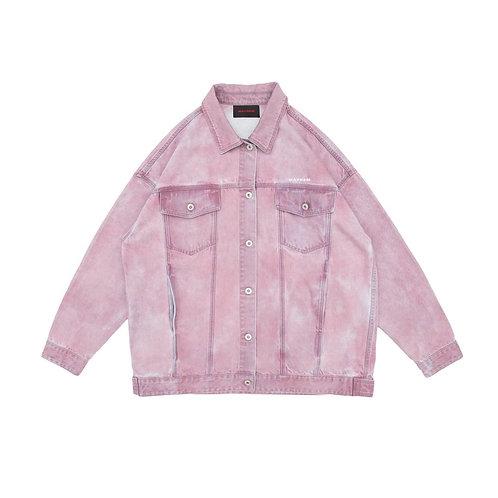 MAYHEM Basic Logo Glitter Print Denim Jacket