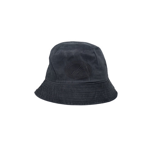 WELLDONE Black Cotton Embossed Logo Bucket Hat