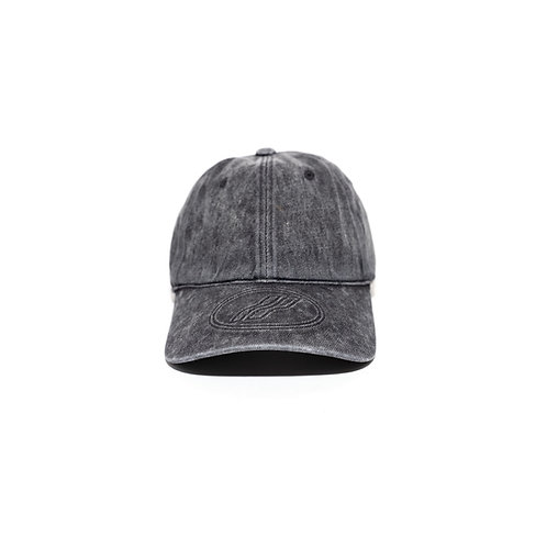 WELLDONE Wash Black Cotton Embossed Logo Cap
