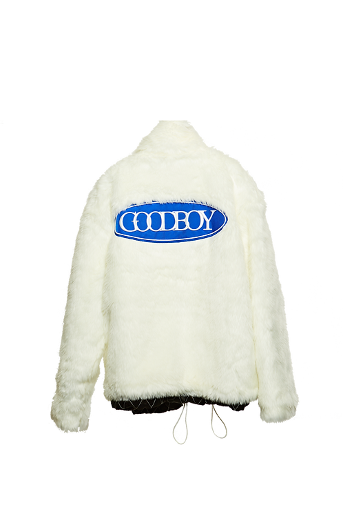 XOXOGOODBOY 2020FW Blue Logo Patch Fur Jacket