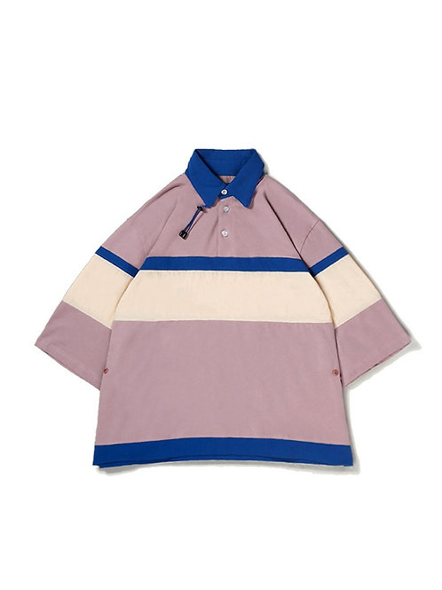 UMAMIISM Oversized Color Blocking Zip Collar Detail Polo Shirt