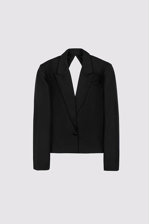 ANN ANDELMAN Backless Crossover Suit Jacket