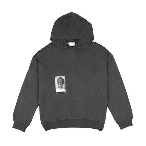 ARNODEFRANCE Pocketless Hoodie Charcoal Print