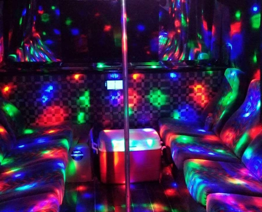 """Jet Black"" Party Bus Interior"