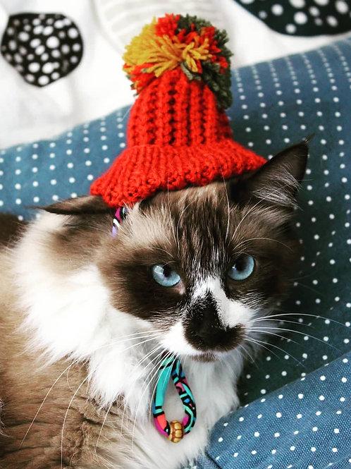 Handmade Cat Hats - Pom Pom
