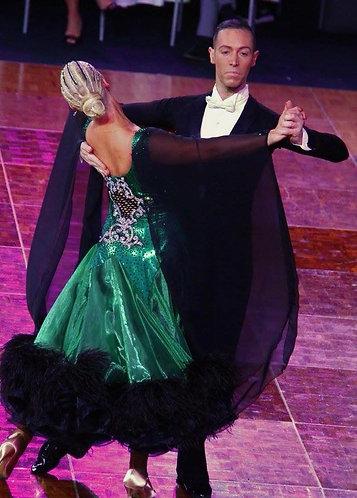 Green & Black Ballroom Dress