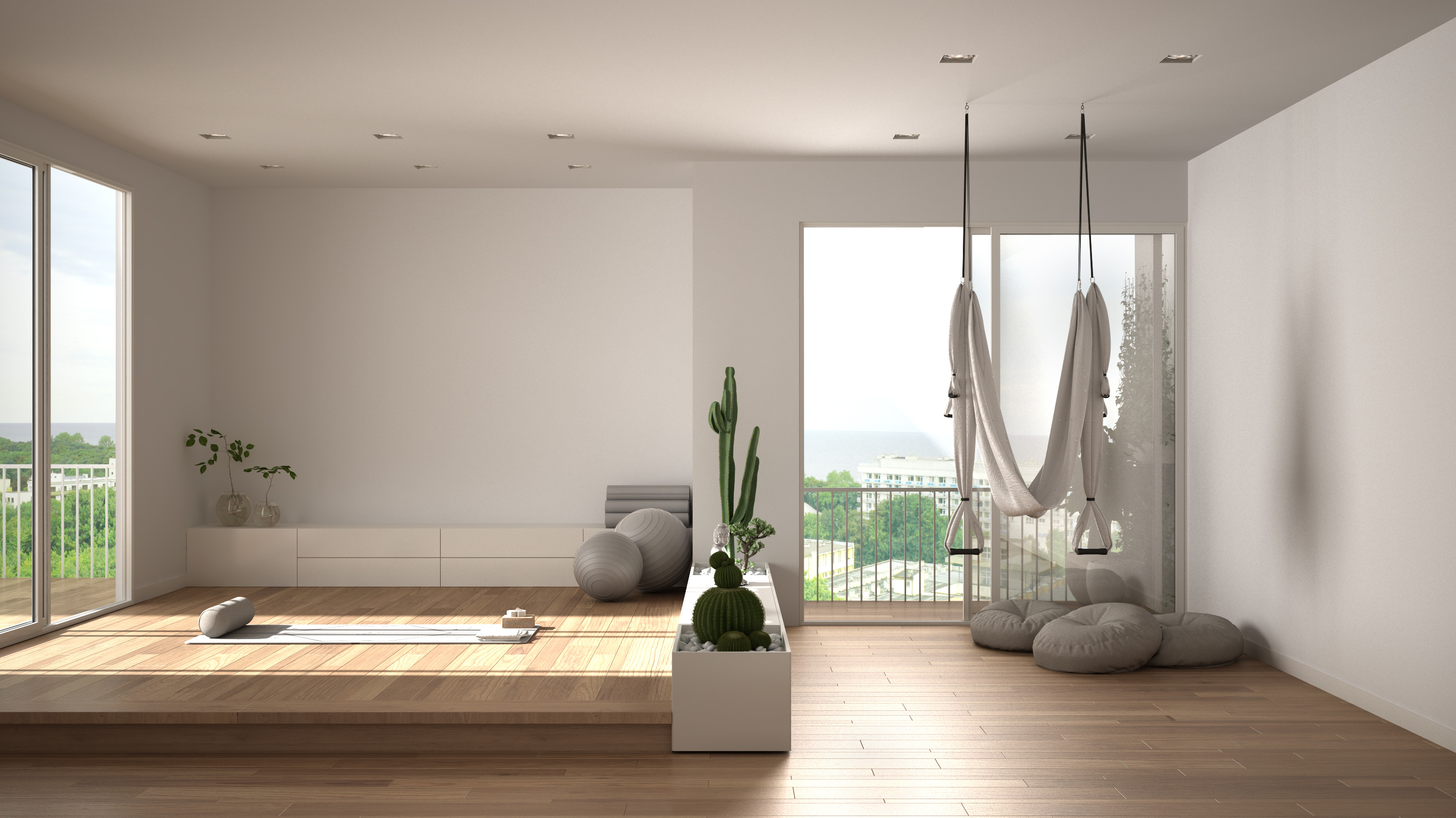 Home yoga studio design visualisation