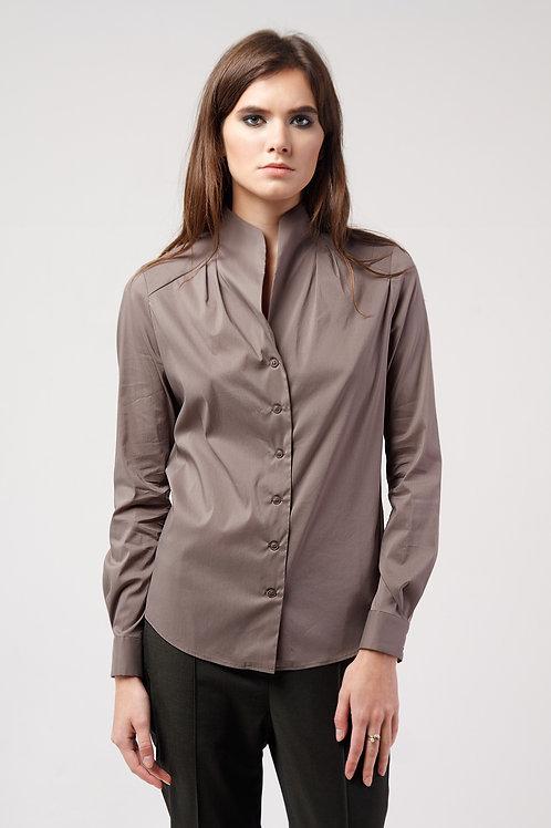 Блуза стойка коричневый