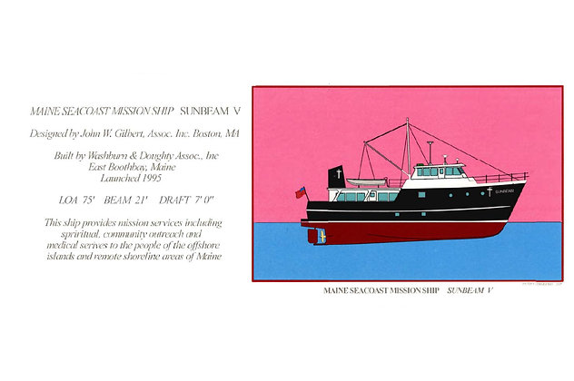 Maine Seacoast Mission Ship Sunbeam V Card by Artisan Peter Zimmerman