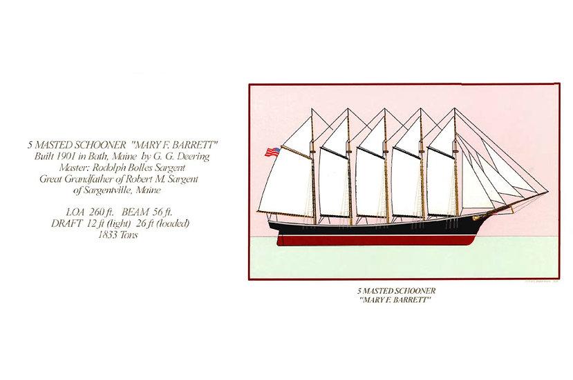 """5 Masted Schooner """"Mary F. Barrett"""" Card"""