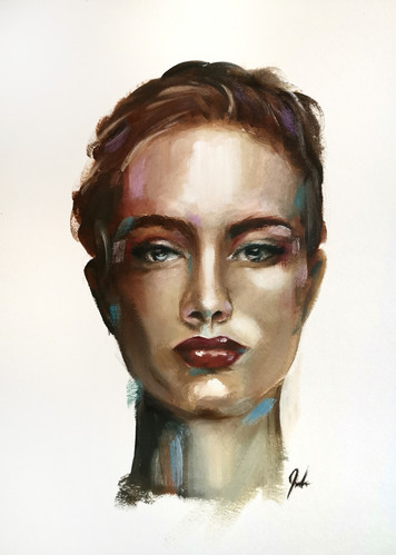 Oil painting woman portrait abstract pao