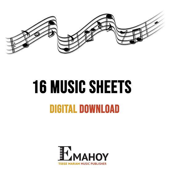 16 MUSIC SHEETS DIGITAL DOWNLOAD