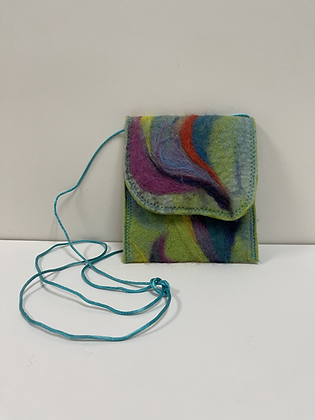 Swirl Needle Felted and Liner Purse