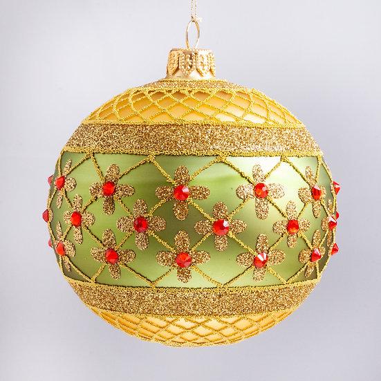 "#635GD-G - Thomas Glenn ""Coronation - Gold & Green"" Ball Christmas Ornament"