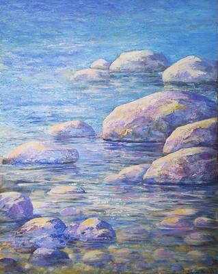 Artist Seija Martin_ River   Rocks_16X20