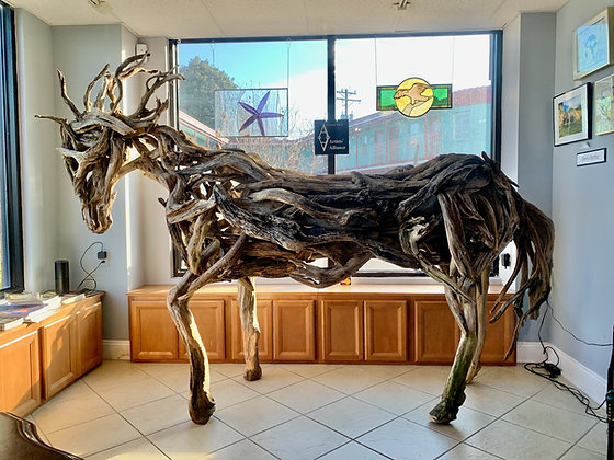 """Driftwood Horse Sculpture """"Hope_"""