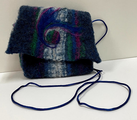 Blue with Swirl Hand Felted Purse