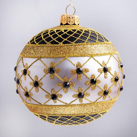 "#635BK-SIL - Thomas Glenn ""Coronation - Black & Silver"" Ball Christmas Ornament"