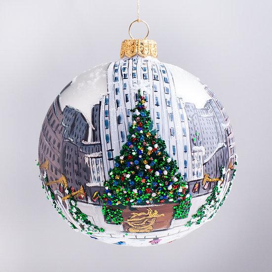 """#2151 - Thomas Glenn """"Rockefeller Center"""" Ball Christmas Ornament"""