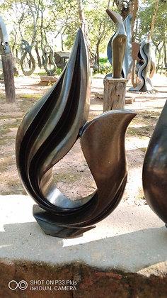 """""""Flower"""" Black Serpentine Sculpture"""