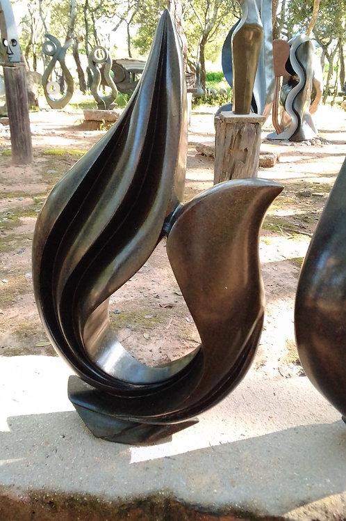 Flower Black Serpentine Sculpture