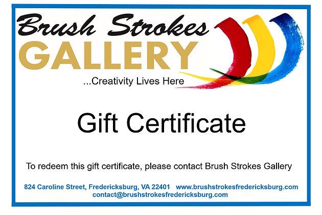 Brush Strokes Gallery Gift Certificate