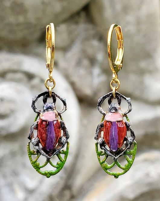 Pollinator Beetle Earrings