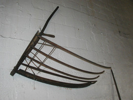 5-Finger Wheat Cradle/Scythe. All wood. Circa not certain; late 1700's into 1800's.