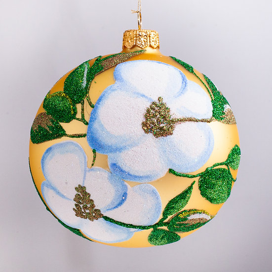 "#2182 - Thomas Glenn ""Magnolia"" Ball Christmas Ornament"