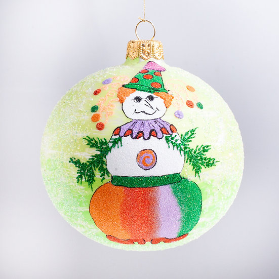 "#2177 - Thomas Glenn ""Jim's Snowman"" Ball Christmas Ornament"